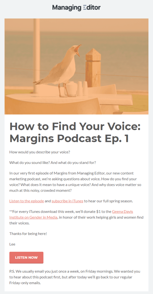 The Managing Editor's newsletter promotes their latest episode